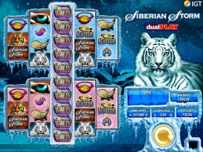 Main game board featuring five reels and 1440 / 2880 winning combinations with a $250,000 max payout.