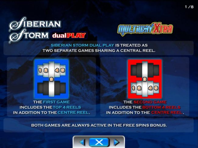 This video slot game is treated as two seperate games sharing a central reel. The 1st game includes the top 4 reels in addition to the center reel. The 2nd game includes the bottom 4 reels in addtion to the center reel. Both games are always active in the