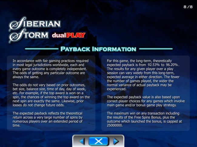 Payback Information - Theoretical return To Player is from 92.53% to 96.20%. The maximum win on any transaction is capped at 250,000.
