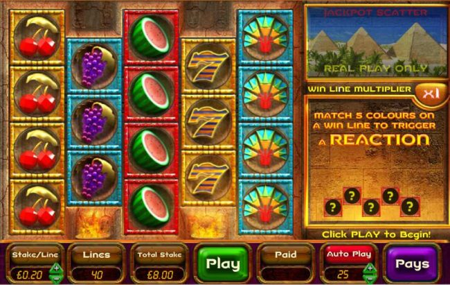 main agme board featuring five reels and forty paylines - Casino Bonus Beater