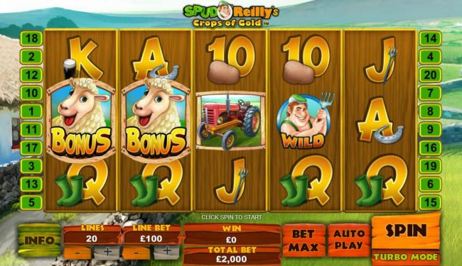 Casino Bonus Beater - Main game board featuring five reels and 20 paylines with a $100,000 max payout