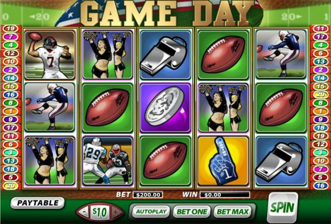 A football sports themed main game board featuring five reels and 20 paylines with a $450,000 max payout. - Casino Bonus Beater