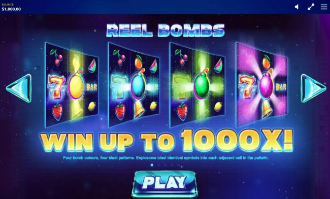Casino Bonus Beater - Reel Bombs - Win up to 1000X! Four bomb colors, four blast patterns. Explosions blast identical symbols into each adjacent cell in pattern.