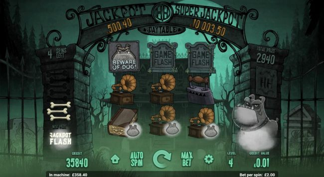 Feed dog bones to the ghost dog by collecting bull dog overlays during the free spins. Remove enough dog bones with the alloted free spins and you could go to the Jackpot Flash round. by Casino Bonus Beater