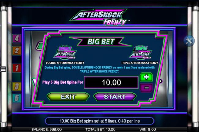 Big Bet Feature - Play 5 Big Bet spins for whatever amount you would like to wager and click start to begin the five game set.