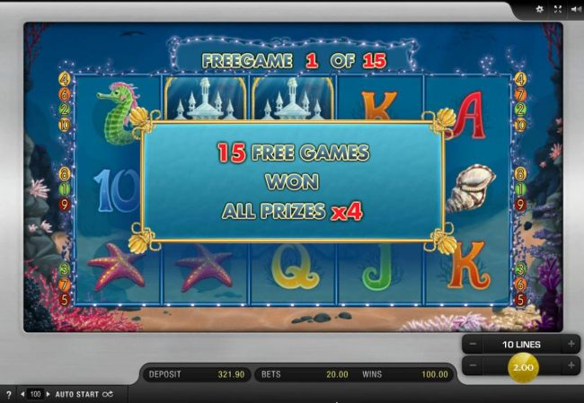 15 free games awarded with all prizes multiplied by 4x. - Casino Bonus Beater