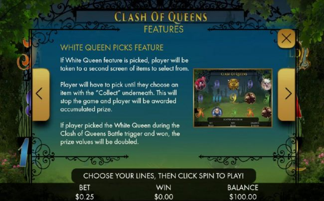 White Queen Picks feature game rules. If White Queen feature is picked, player will be taken to a second screen of items to select from.