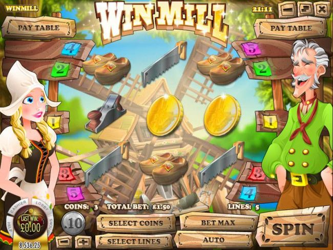 Main game board featuring three reels and three paylines with a 5000x max payout. - Casino Bonus Beater