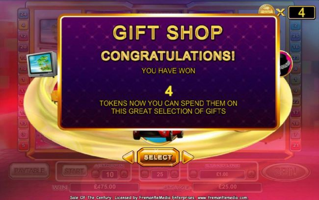 you have 4 tokens to spend in the gift shop