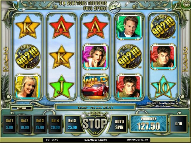 3 x scatters triggers free spins