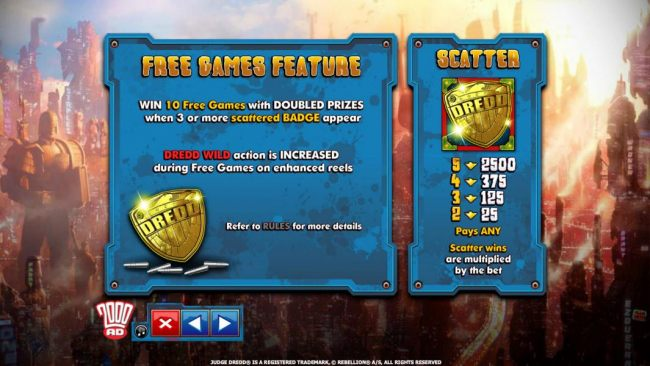 Free Games Feature rules and Scatter symbol paytable by Casino Bonus Beater