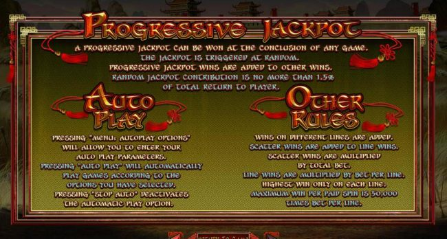 Casino Bonus Beater - Progressive Jackpot Rules, Auto Play and Other Game Rules.