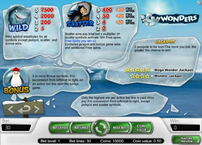 Bonus, wild, scatter and jackpot rules and payouts