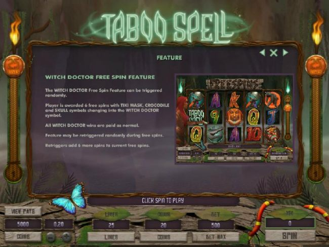 Witch Doctor Free Spin Feature - The Witch Doctor Free Spin feature can be triggered randomly - Casino Bonus Beater