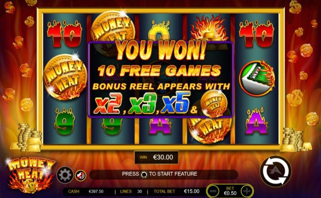 Three or more Money Heat logo scatter symbols anywhere on the reels offers 10 free games with bonus reel. - Casino Bonus Beater