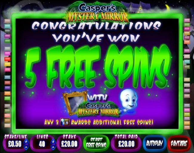 5 free spins awarded