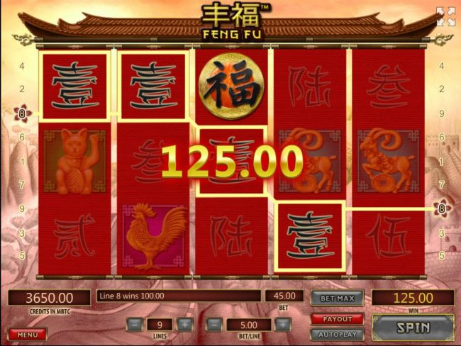 Casino Bonus Beater - A pair of winning paylines triggers a 125.00 payout
