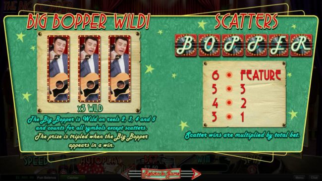 The Big Bopper is wild on reels 2, 3, 4 and 5 and counts for all symbols except scatters. The prize is tripled when the Big Popper appears in a win. - Casino Bonus Beater