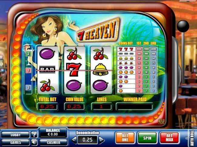 main game board featuring 3 reels and 3 paylines - Casino Bonus Beater