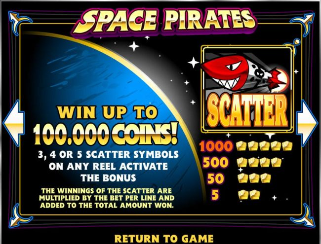 Win up to 100,000 coins! 3 or more scatter symbols on any reel activate the bonus.