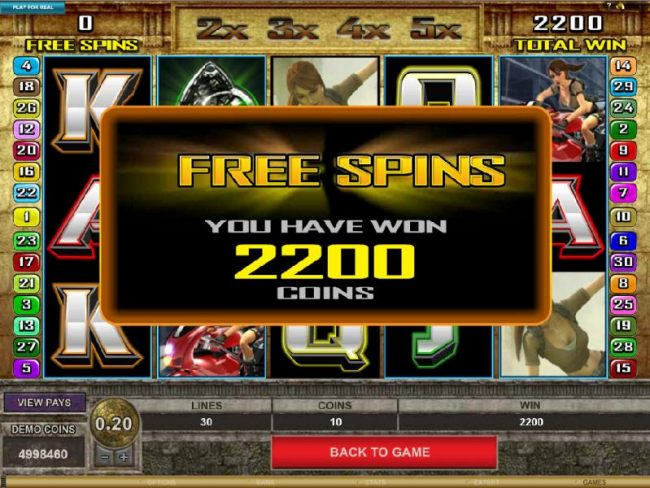 the Free Spins feature paid out 2200 coins