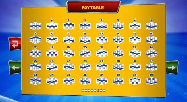 Casino Bonus Beater - Payline Diagrams 1-40