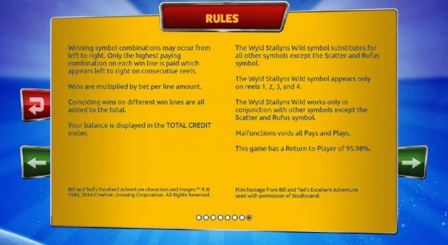 Casino Bonus Beater - Rules - Winning symbol combinations may occur from left to right. Only highest paying combination on each win line is paid which appears left to right on consecutive reels. This game has a return to player of 95.98%