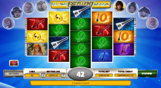 Casino Bonus Beater - Three Guitar scatter symbols triggers Histroical Report Feature.