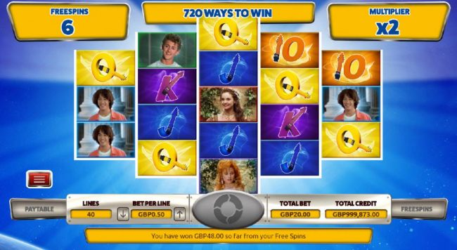 Casino Bonus Beater - The free spins game board featuring 720 ways to win.