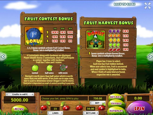 Fruit Contest Bonus and Fruit Harvest Bonus Rules and Pays - Casino Bonus Beater