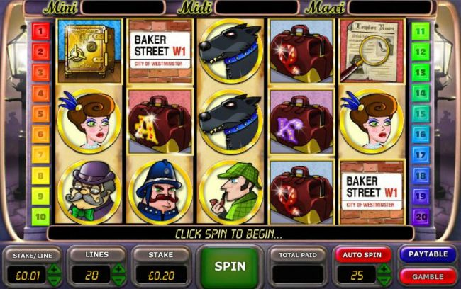 Casino Bonus Beater - main game board featuring five reels, twenty paylines and a gamble feature