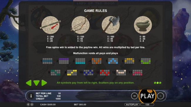 Low value game symbols paytable and payline diagrams. - Casino Bonus Beater