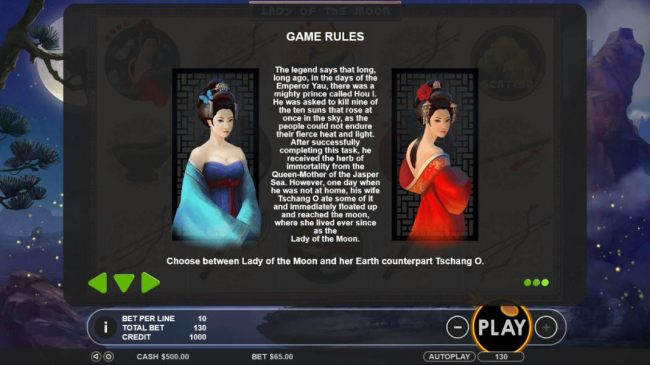 Bonus Game Rules - Choose between the Lady of the Moon or Earth counterpart Tschang O to reveal a prize award. - Casino Bonus Beater