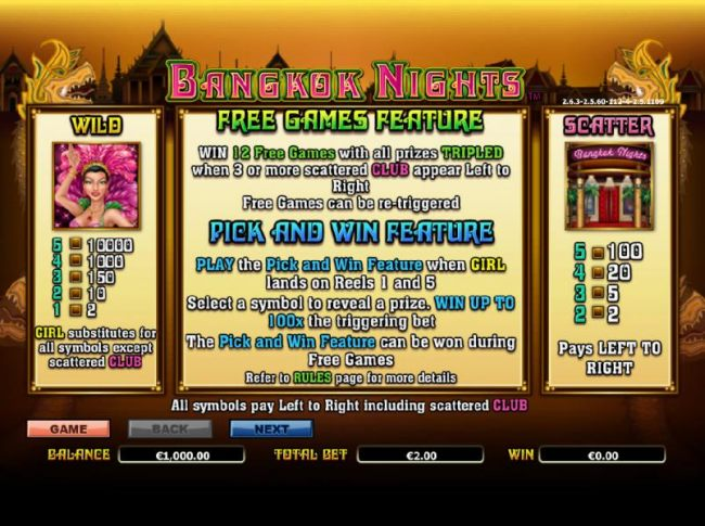 Casino Bonus Beater - wild, scatter and free games feature paytable and rules
