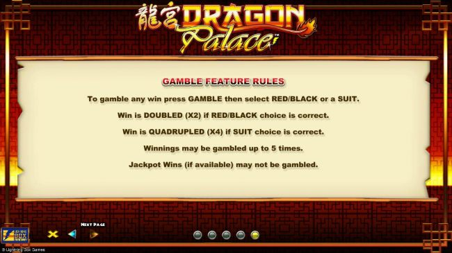 Gamble feature Rules - To gamble any win press GAMBLE the select red or black or suit. by Casino Bonus Beater