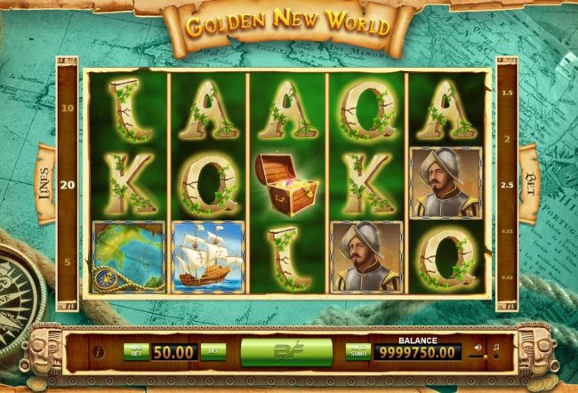 A Spainish explorer themed main game board featuring five reels with 20 paylines.