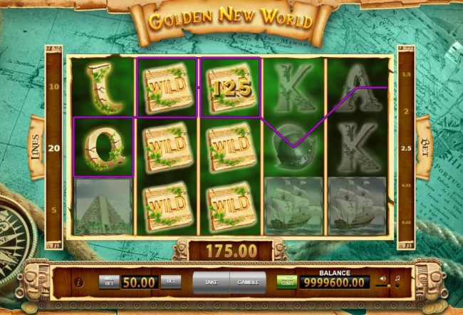 Wild symbols trigger multiple winning combinations leading to a 175.00 jackpot.