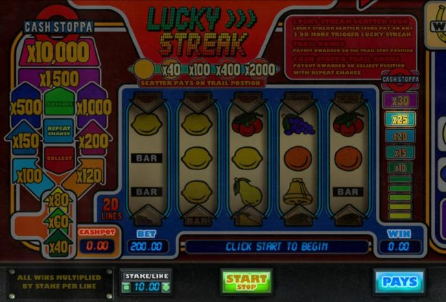Casino Bonus Beater - Main game board featuring three reels and 20 paylines with a $100,000 max payout