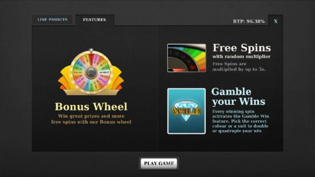 bonus features - bonus wheel, free spins and gamble your wins