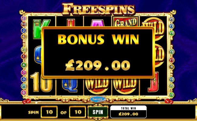 the free spins fetaure pays out a total jackpot of $209