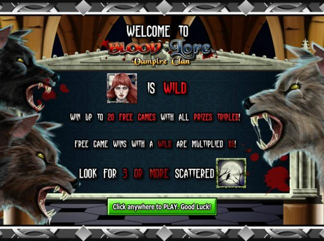 Vampire Queen is wild. Win up to 20 free games with all prizes tripled! Free game wins with a wild are multiplied x6! - Casino Bonus Beater