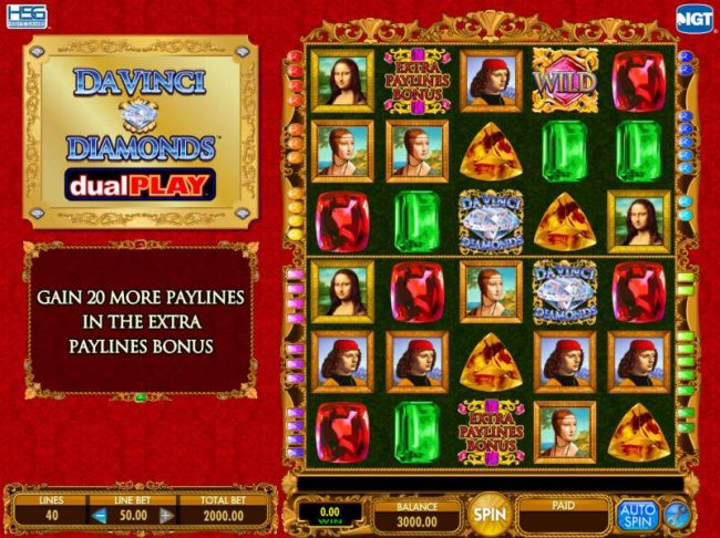 Main game board featuring five reels and 40 paylines with a $250,000 max payout - Casino Bonus Beater