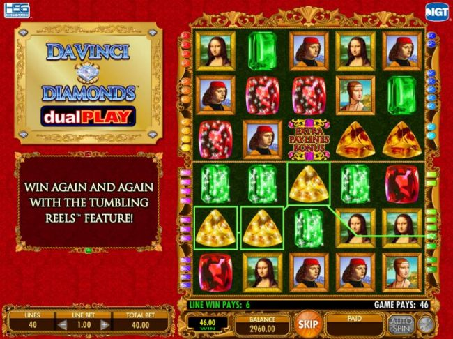 Casino Bonus Beater - A pair of winning paylines triggers the Tumble Thru feature.