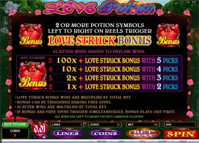 Bonus Feature rules and pays by Casino Bonus Beater