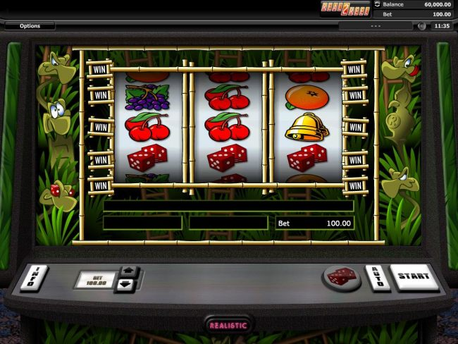 Main game board featuring three reels and 5 paylines with a $12,000 max payout. - Casino Bonus Beater