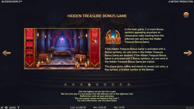 In the main game, 3 or more bonus symbols appearing anyhwre on consecutive reels starting from the leftmost reel activate the Hidden Treasure Bonus Game.
