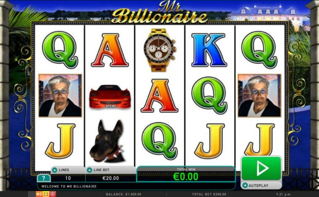 A wealth and luxury themed main game board featuring five reels and 10 paylines with a $200,000 max payout.