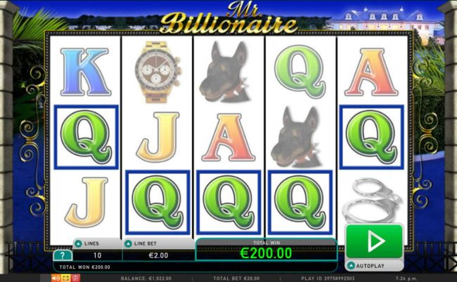 A winning Five of a Kind 200.00 payout.