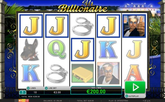 A 200.00 win triggered by a five of a kind.