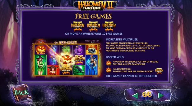Free Games Rules - Three or more game logo scatter symbols anywhere wins 10 free games with increasing multiplier and locked wild on center reel - Casino Bonus Beater